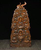 Buddhism Boxwood tara Shakyamuni Amitabha Manjusri Ksitigarbha Mandala Statue