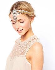 Hochzeits Kopfschmuck Kopfkette Haarkette Haarschmuck Strass Stirn Anhänger NEU