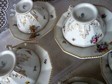 NYMPHENBURG Bavaria PERL Pearl DODECAGON TEA CUP & SAUCER SET Rose Flowers #982