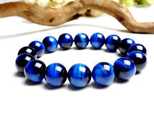 Natural Brazil Blue Tiger's Eye Gemstone Round Beads Bracelet 14mm AAA
