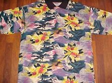Surfer Surfing Waves Hawaiian Green Yellow Black Floral M.E. Sport Polo Shirt XL