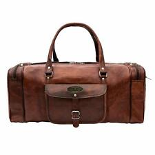 Leather Duffel Bag Large 23 Inch Square Duffel Travel Gym Sports Overnight Bags