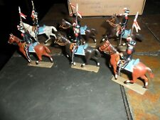 VINTAGE FRENCH MIGNOT TOY SOLDIERS CHASSEURS CHEVAL 6 RIDERS & 6 HORSES