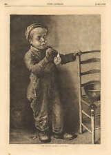 Boy Blowing Bubbles, Children, Toys, Very Cute, Vintage, 1871 Antique Art Print