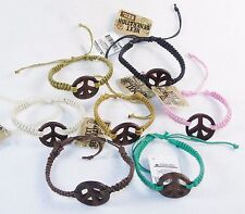7 Braided Peace Sign Bracelets ~ Wooden Charms, Adjustable, Assorted Colors