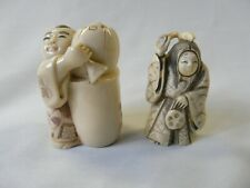 Pair of Antique Japanese Resin Type Netsuke Character Figurines Two Face