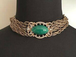 Gorgeous Vintage French Designer Necklace. Green Stone Cabochon, Crystals