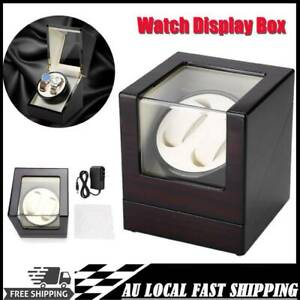 Automatic Dual Watch Winder Wood Display Box Rotation Watch Storage Display Case