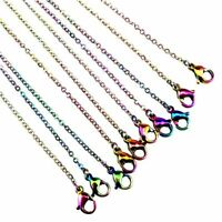 "1.6mm Rainbow Color Chain Necklace Stainless Steel Chain 18"" 20"" 24"" 28"" -1PC"