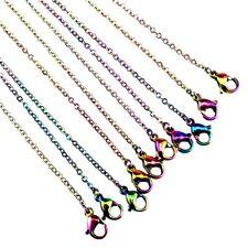 "C- Bulk 10pcs! 1.6mm Rainbow Color Chain Necklace Stainless Steel Chain 45cm 18"""