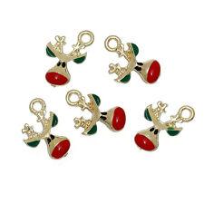 10 PCs Charm Pendants Christmas Reindeer Light Golden Red & Green Enamel