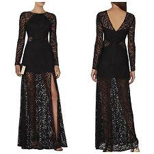 NEW Bcbg Maxazria Alexia Embroidered Blocked-Mesh Dress black $468 sz12 ADV67C89