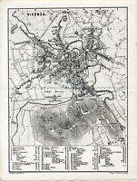 Vicenza 1874 picc. piantina città orig. -  Berico palazzi chiese Bartolini Caffè