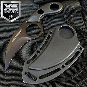 "5.5"" Karambit Black MINI NECK KNIFE Claw Hunting Fishing Survival Necklace"