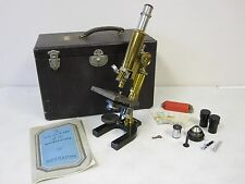 Antique Spencer Lens Co. Microscope - Brass - With A Case/Key and Extras