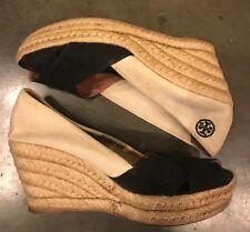 Tory Burch Women Black Beige Filipa Espadrille Wedges Peep Toe Shoes Size 7 B
