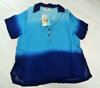 lightweight Pretty Blue 2 tone Semi-sheer Blouse Top Size chic soul, s-m 8 10 UK