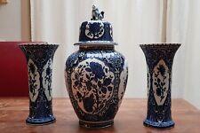 """Delfts Blue White Ginger Foo Dog Jar Urn 15"""" Vases 10"""" Boch Royal Sphinx Holland"""