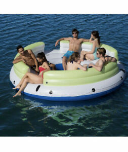 6 person Island Inflatable Lake and River Seated Floating Water Lounge Raft