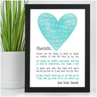 PERSONALISED Best Friend Friendship Poem Christmas Gifts Birthday Sign Presents