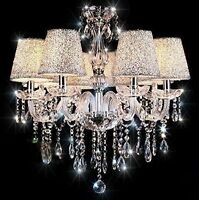 Geniune K9 Crystal Chandelier CLEAR/BLACK 2/6/8/10 Arms Candle with Lampshades