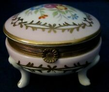 Trinket Box Porcelain Footed Gold Band 3 Inch