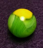UV YELLOW & Lime GREEN Vitro Akro Sunburst Conqueror Mystery Vintage Marbles