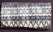 GREY BLUE AZTEC WOVEN FABRIC TOBACCO POUCH ETHNIC SMOKERS POUCH