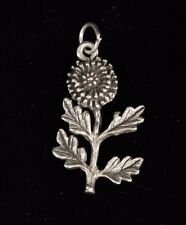 """Silver Unmarked Thistle Flower Charm Pendant 2.93 g Very Cute .64""""W x 1.08""""L"""