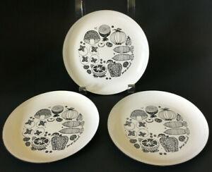 Vintage GEORGES BRIARD Mid Century food chart enamel plates set of 3 EXC COND