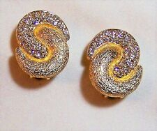 Christian Dior Crystal Rhinestone Clip On Earrings Nordstrom Gold Tone 1112hFZ