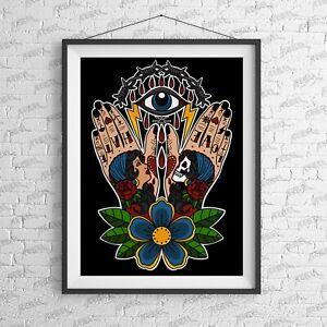 Hands Above Art Print - Alternative Suicide Girl tattoo Tattoo Nirvana rebel