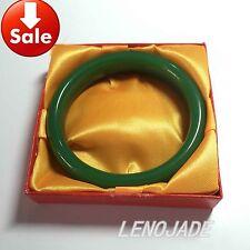 """100% Natural Green Hetian Nephrite Jade Bangle Bracelet """"Handmade"""" Fine Gems New"""