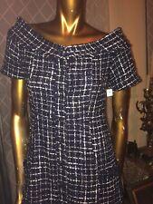 ZARA TWEED DRESS,NAVY AND WHITE CHECK DRESS.m,ELEGANT LONG DRESS S