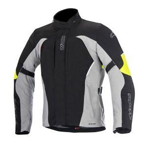 Alpinestars Ares Waterproof Gore-Tex Motorcycle Motorbike Jacket Black Grey Fluo