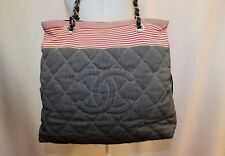CHANEL Red Stripe CC Quilted Denim Coco Tote Shoulder Bag