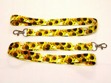 Beautiful Sunflowers neck strap lanyard - 20mm, made in UK, perfect for summer