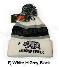 CALIFORNIA REPUBLIC Bear Cali CA Cuffed Beanie Pom Skull Cap Knit