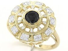 0.74ct Black & White Diamond 9ct 9K Solid Gold Ring - Sz N/7.0 - 30 Day Returns
