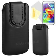 MAGNETIC PU LEATHER PULL FLIP TAB CASE COVER POUCH FOR SAMSUNG GALAXY S5 SM-G900