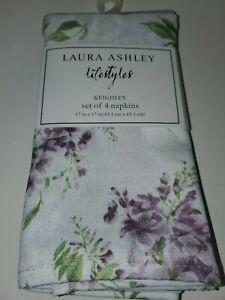 4 NWT Laura Ashley Lifestyles Napkins Keihley White Floral Purple Flowers NEW