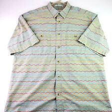Orvis Mens Large Green Aztec Native American Design SS Button Up Shirt