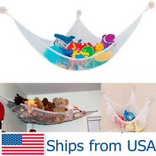 Toy Hammock Net Organizer Corner Stuffed Animals Kids Hanging Storage Bath White
