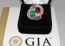 Certified Colombian Emerald, Ruby Diamond Platinum and Gold Ring