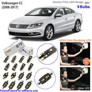 9 Bulbs Deluxe LED Interior Dome Light Kit White For 2008-2017 Volkswagen CC