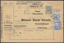 TURKEY, 1916. Hungary Incoming Parcel Card, Budapest - Cons-ple