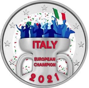 2 EURO A COLORI ITALIA CAMPIONE D'EUROPA 2021
