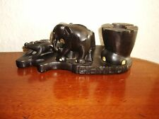 SOLID EBONY WOOD CARVED CROCODILE ELEPHANT & FOOT CEYLON BASE SMOKERS COMPANION