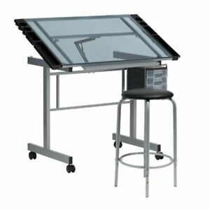 SD Alpha 2-Piece Mobile Silver Metal Drafting Table And Stool Set + FREESHIPPING