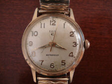 Elgin Mens Vintage Manual Wind Gold Watch Runs Well Stretch Bracelet 17 Jewels